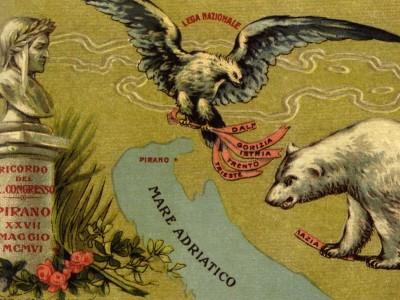 014 Cartolina congresso Lega a Pirano 1906Coll spazzali