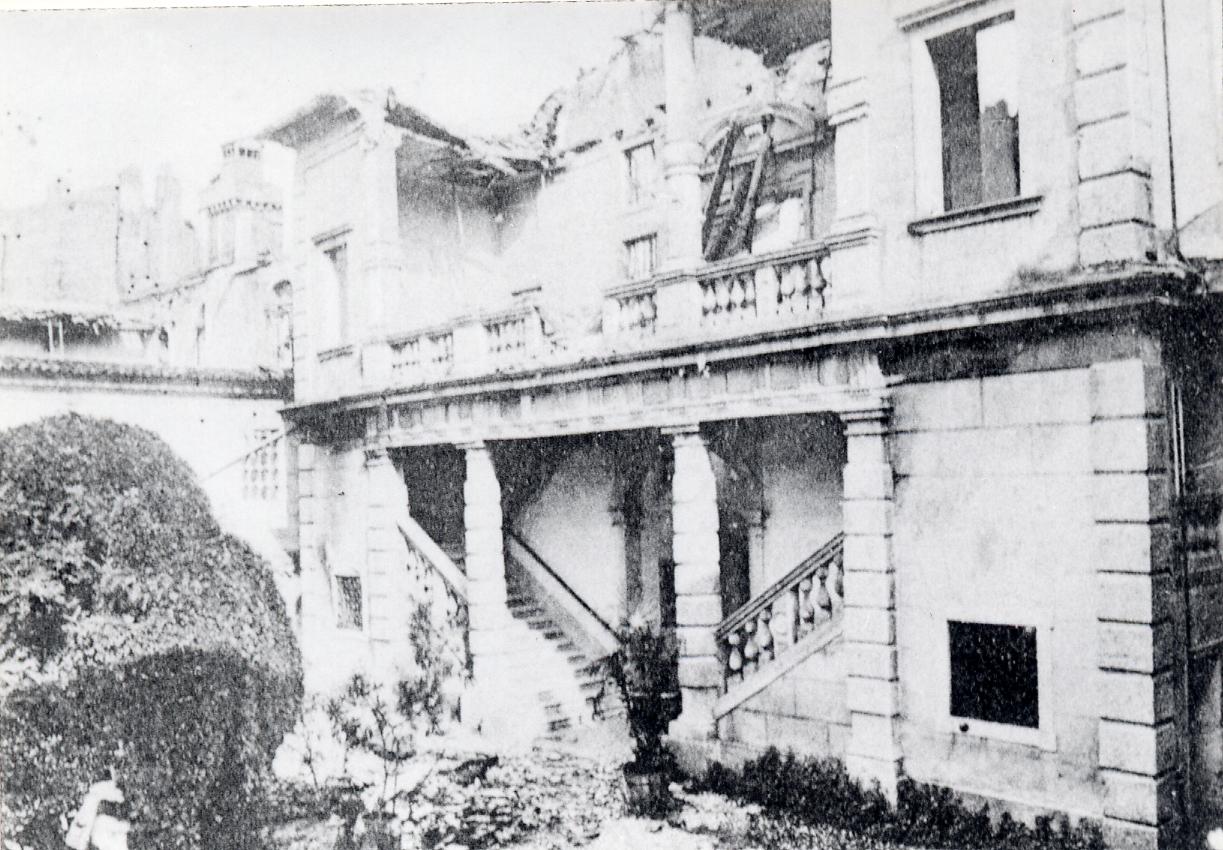 Gradisca, ottobre 1917, Palazzo Torriani squarciato dalle bombe Archivio fotografico Ifsml