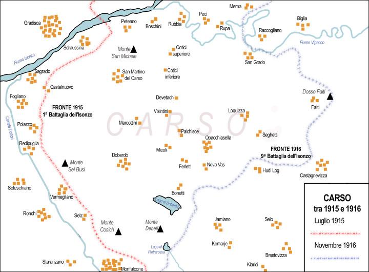 LE PRIME QUATTRO OFFENSIVE cartina di franco cecotti
